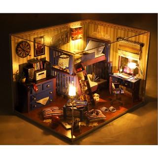 FREESHIP ĐƠN 99K_Mô hình nhà gỗ búp bê – Phòng ngủ khu ký túc đại học – My Best Friend