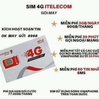 Sim 4G vinaphone & inte (free tháng đầu) MAY gói 90GB/ tháng +30 phút gọi ngoại mạng ( giống sim 4G vinaphone VD98 plus)