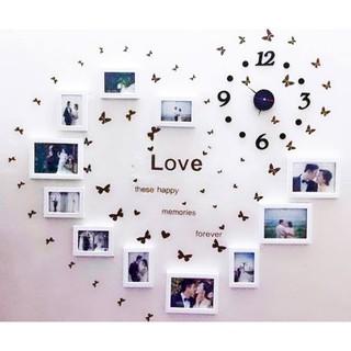 Khung ảnh treo tường trang trí phòng cưới gồm 11 khung kèm đồng hồ và decal dán tường mã số 53