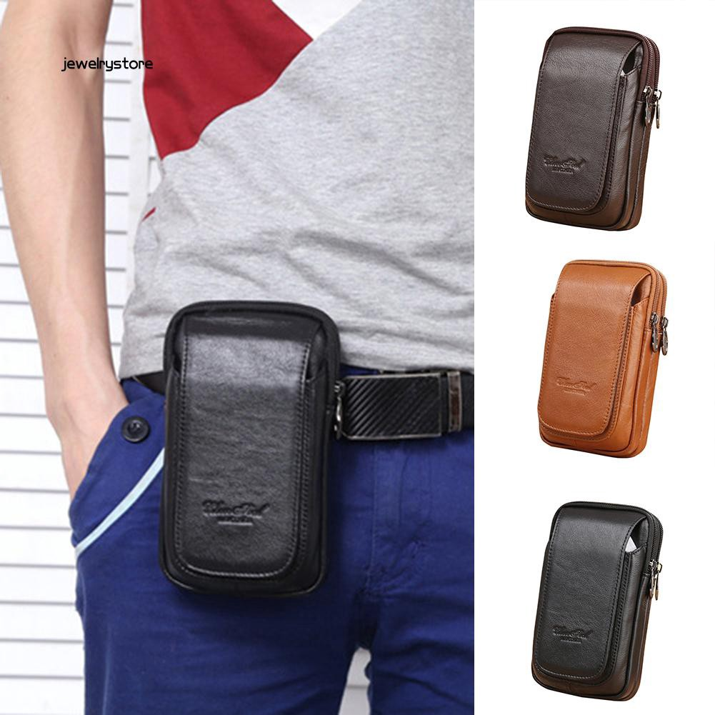 【JEW】Casual Genuine Leather Zipper Man Belt Hook Multi-Pocket Waist Bag Phone Pouch