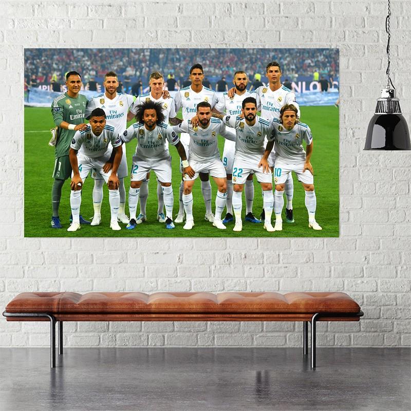 Decal dán tường CLB bóng đá Real, barca, Chelsea, MU, Arsenal...