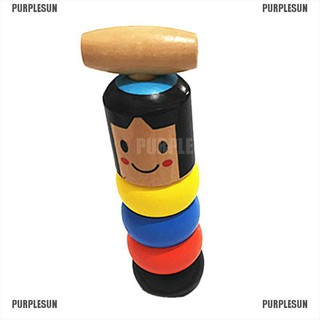 PURPLESUN A Little Small Wooden Unbreakable Man Puppet Novelty Funny Toy Creative Gift