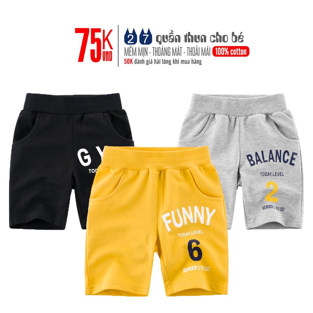 Quần short bé trai 27KIDS quần thun họa tiết thể thao chất cotton hàng xuất Âu Mỹ