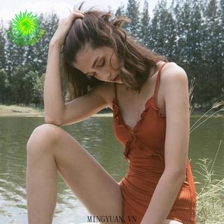 [mingyuan] New women s one-piece bikini 2020 Korean fashion simple and beautiful thin classic open-back bikini swimsuit thumbnail