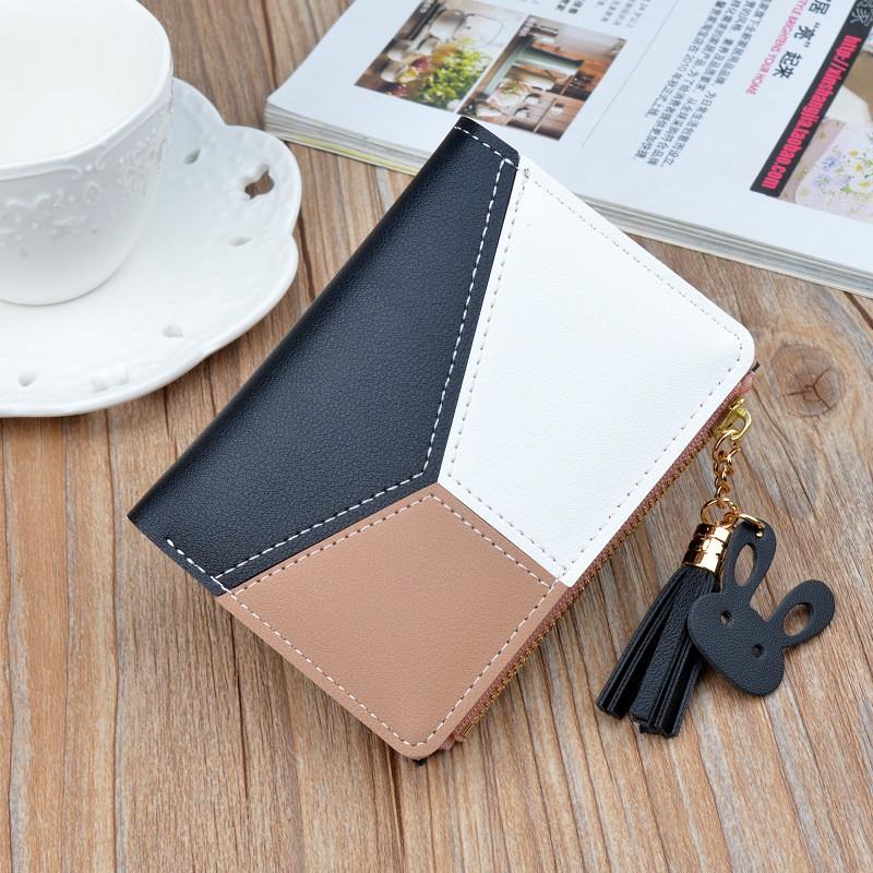 ญิงซิปกระเป๋าสตางค์นักเรียนหญิงเวอร์ชั่นเกาหลีสีโมเสคพู่แพคเกจบัตรกระเป๋าเงินป่า