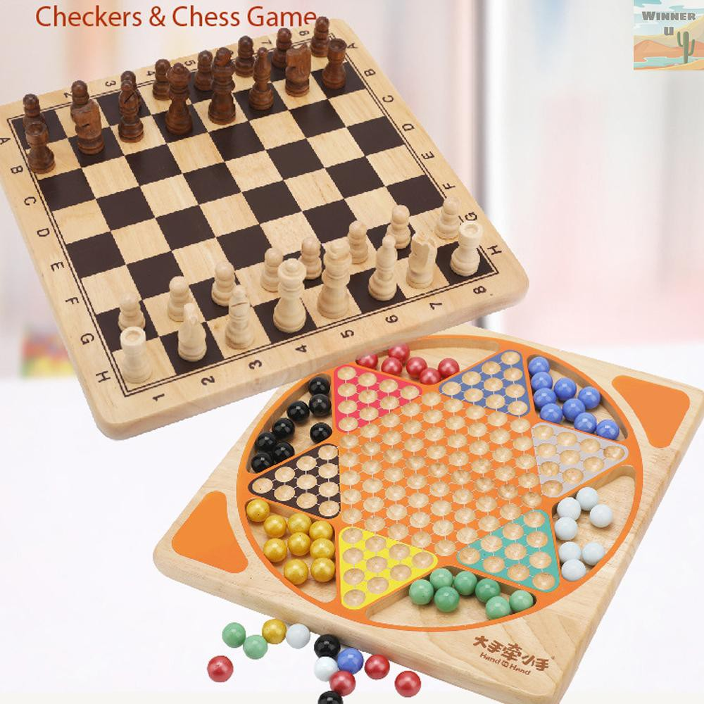 WinnerYou Wooden Toys Two-in-one Chess And Checkers Multi-function Game Children's Wooden Checkers Educational Toys Parent-child Interactive Game