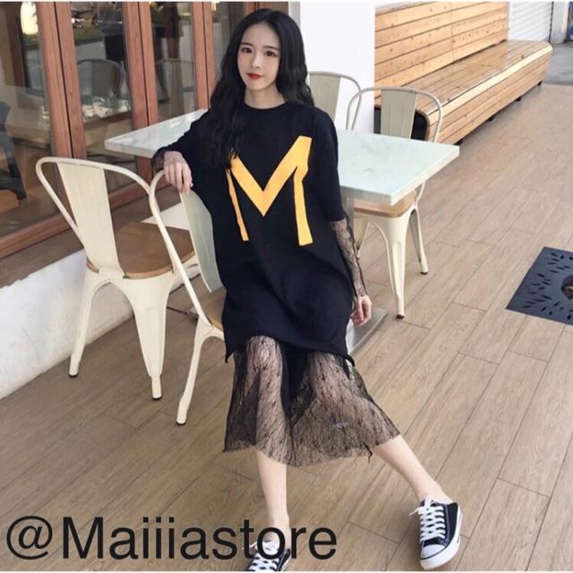 ORDER Đầm phông chữ M kết hợp váy ren(ảnh thật sau)