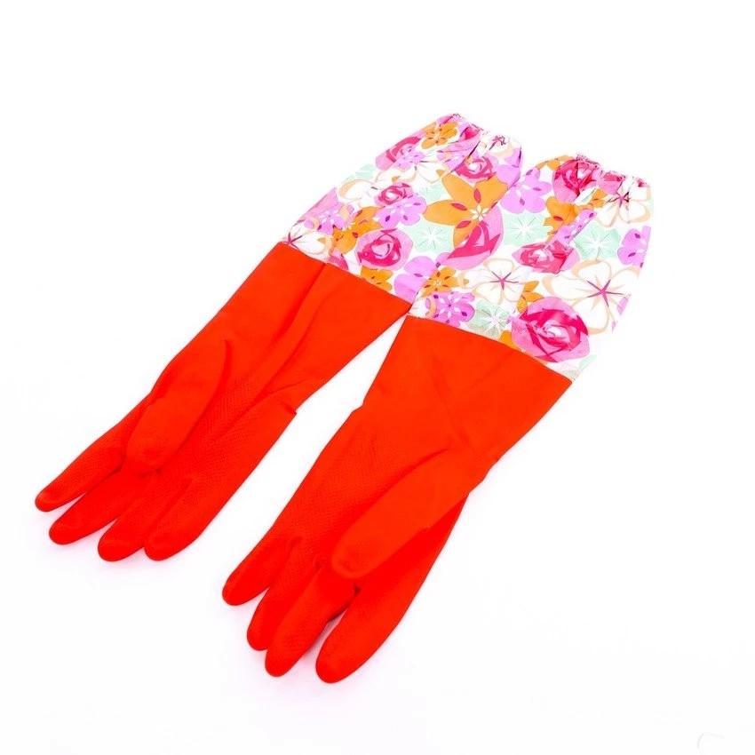 Bộ 2 Găng tay rửa bát lót nỉ chun cao cổ cho mùa đông ấm áp (hoa văn).