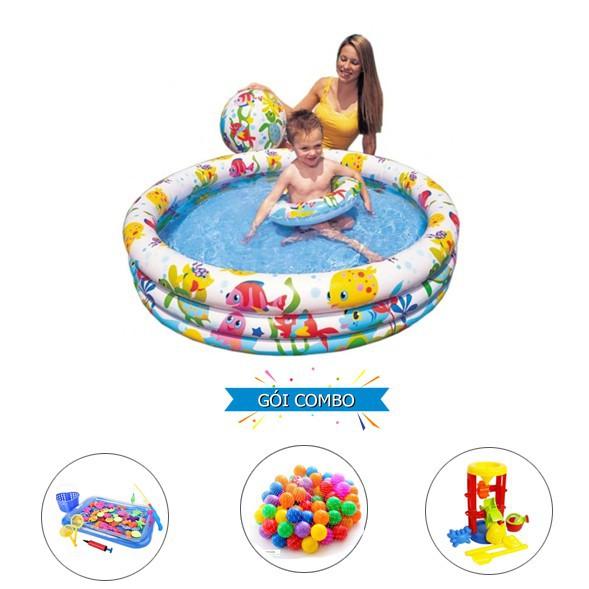 [Đồ Chơi Vận Động]Bộ bể bơi Intex 3 tầng kèm phao bơi và bóng 1m32x28cm + bộ câu cá +...