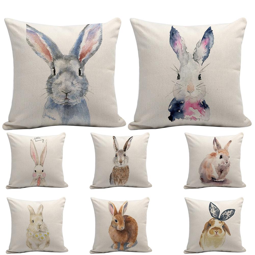 45x45cm Easter Bunny Throw Sofa Office Cushion Cover Square Digital Printed Festival Home Decor Pillow Case