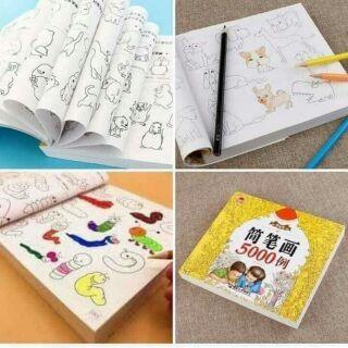 Sách tô màu 5000 hình ngộ nghĩnh + tặng kèm hộp bút màu