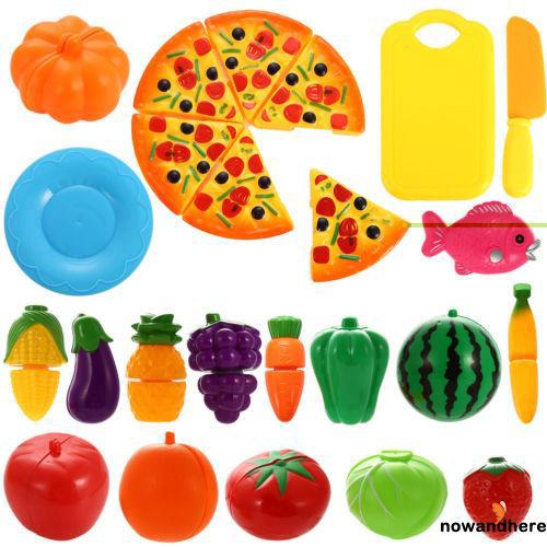 NWR-Cute Baby Kitchen Toys Cutting Vegetables Fruits Educational Simulation