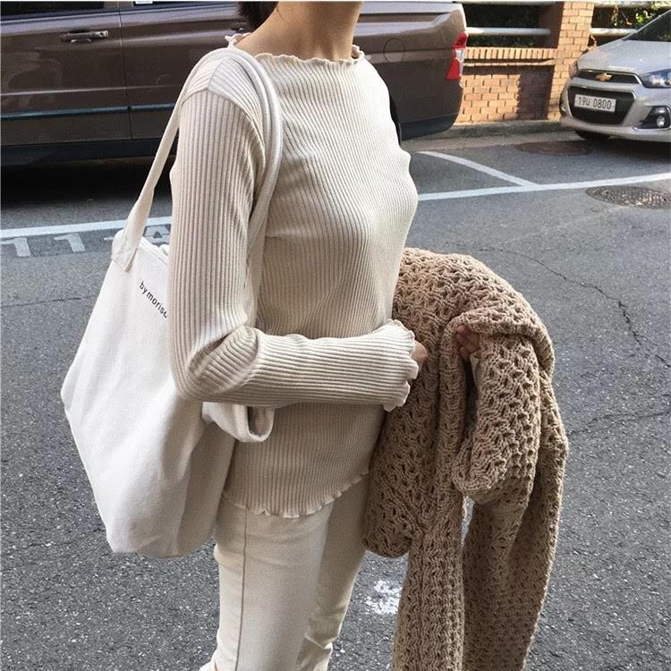Túi tote vải đựng đồ kiểu basic phong cách Hàn Quốc cực hot