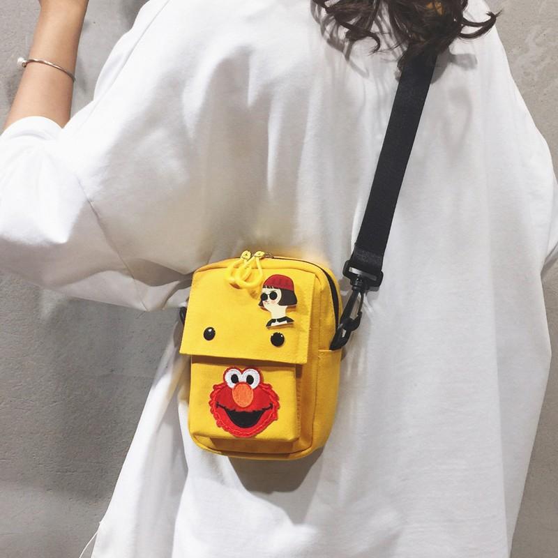 กระเป๋าใบเล็กน่ารักตัวการ์ตูนน่ารักแบบสาวผ้าใบกระเป๋าสี่เหลี่ยมเล็กสายคล้องไหล่ก