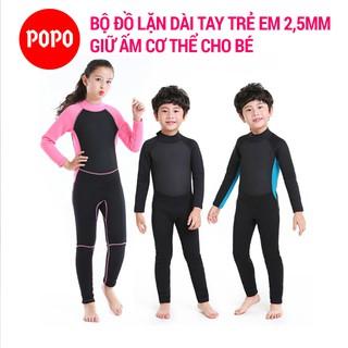 Bộ đồ lặn trẻ em dài tay liền thân dày 2,5mm giữ ấm cơ thể POPO giúp chống nắng, giữ nhiệt an toàn cho bé thumbnail