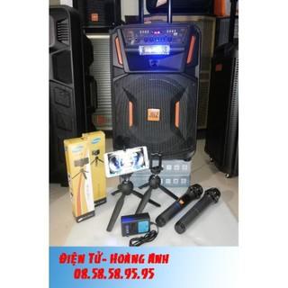 #tặng chân kẹp điện thoai để bàn) #loa keo JBZ – 1202 loa 3 tấc + 2 mic UHF