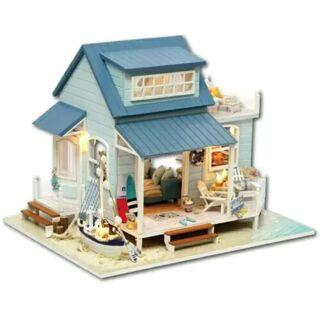 Kèm mica và nhạc – Mô hình nhà gỗ búp bê dollhouse DIY – A037 Caribean