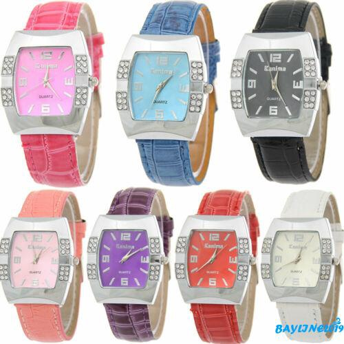 BღBღGeneva Women Leather Band Stainless Steel Quartz Analog Wrist Watch Fashion
