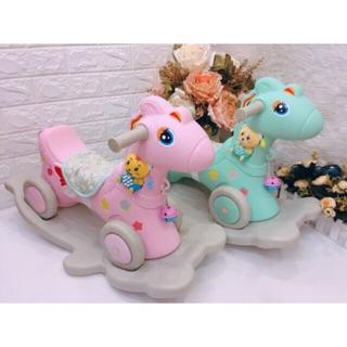 Ngựa bập bênh có đèn có nhạc có bánh xe chòi chân