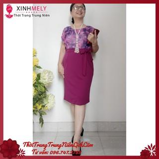 (Trẻ Trung) Váy Đầm Trung Niên Chân Váy Thân Áo Voan 2 Lớp (50kg – 74kg) cho mẹ Sang Trọng