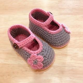 Giày len tập đi cho bé gái mềm mại thoáng khí đế nhựa dẻo chống trơn trượt