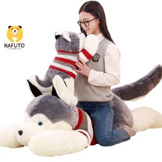 Gấu bông gối ôm chó Husky mặc áo len HAFUTO size 85cm