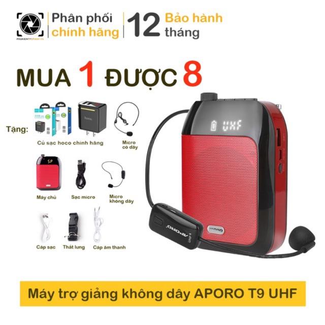 Máy trợ giảng không dây APORO T9 UHF Model 2020 có khe cắm thẻ nhớ | Bảo hành 12 tháng