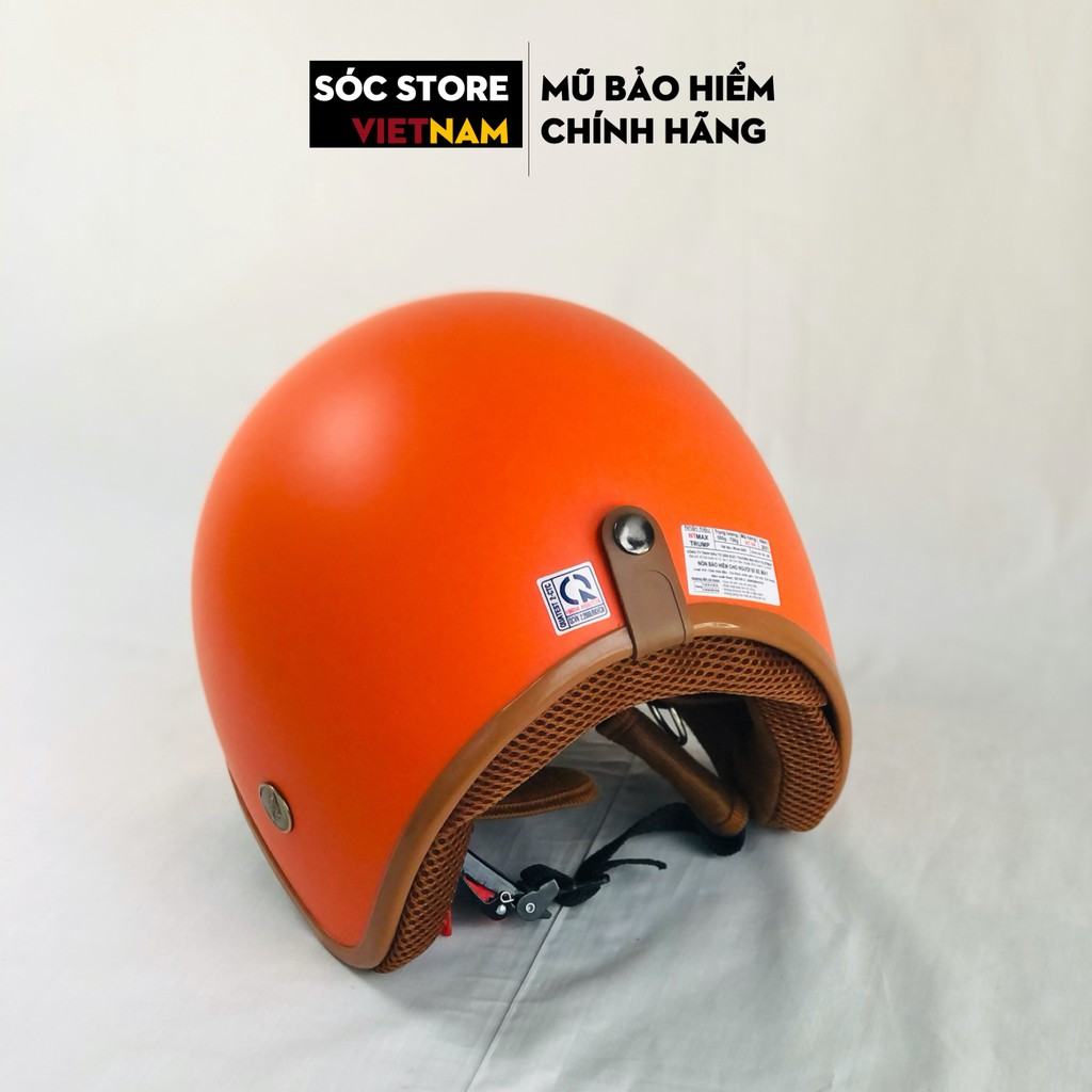 Mũ bảo hiểm 3 phần 4 chính hãng màu cam Sóc Store, nón bảo hiểm 3 phần 4 nam nữ freesize
