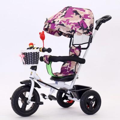 xe đạp ba bánh trẻ em 1-3-5-2-6 tuỏi xe đẩy năm tuổi nam nữ- xe đẩy em bé có ô che có cán xoay có đệm