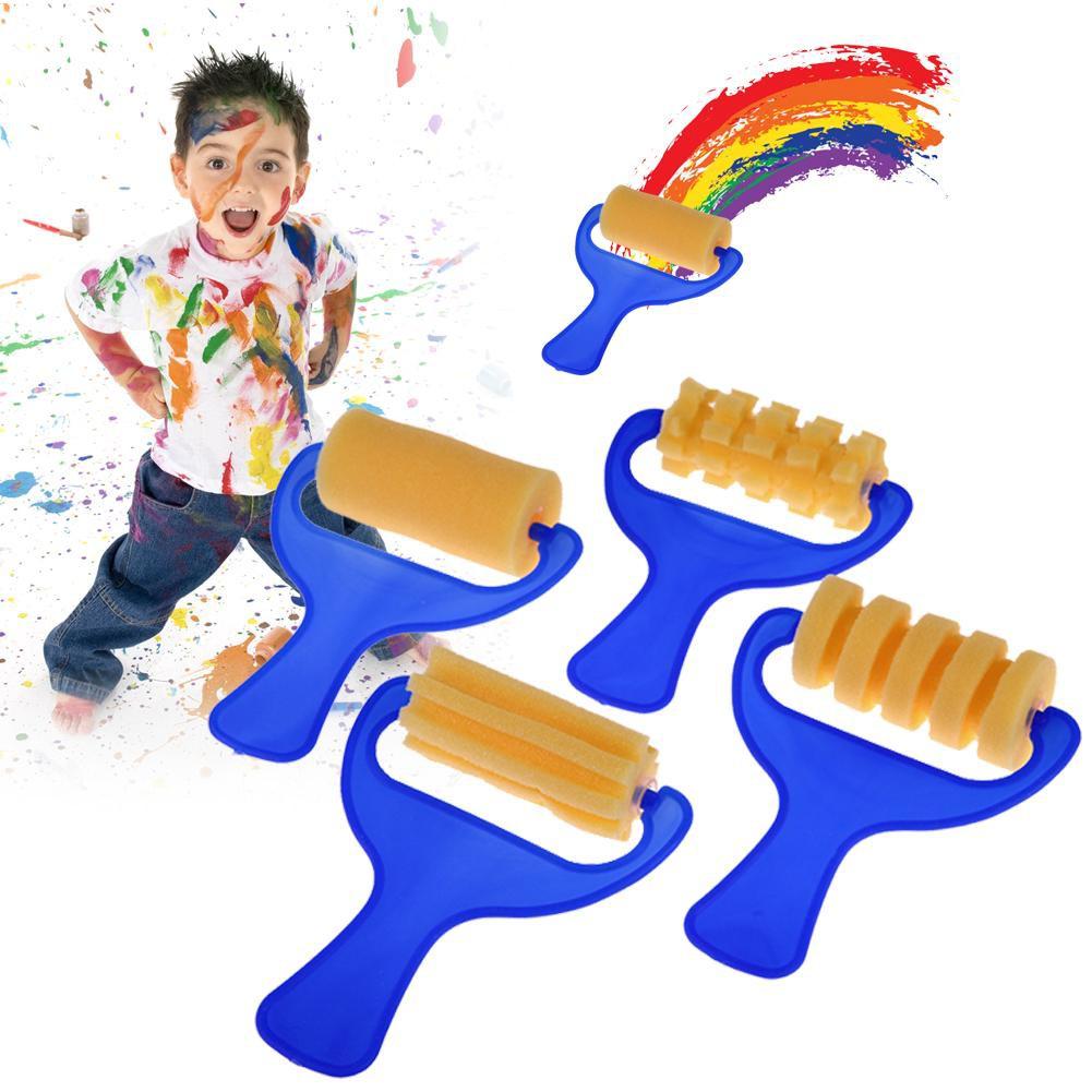 Cozyroomsa 4pcs Kid Yellow Sponge Brush Children Painting Drawing Graffiti Roller Tool
