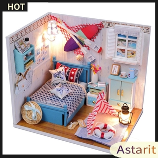 Astarit.DIY Miniature 3D Wooden Dolls House Model Dust Cover Dollhouse Toys Gifts