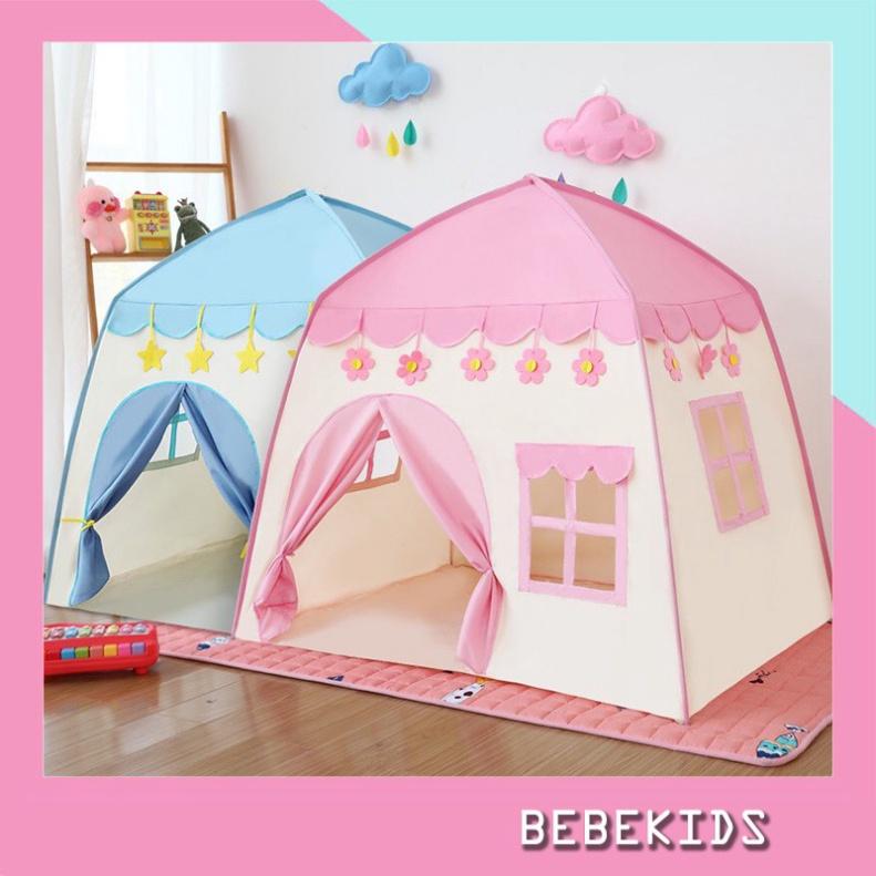 Lều công chúa, hoàng tử cho bé trai bé gái hình ngôi nhà, có 2 màu xanh hồng mẫu mới 2021 [CAO CAP]