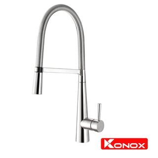 Vòi rửa bát cần mềm KONOX KN1909 hợp kim đồng 61% tiêu chuẩn Châu Âu CW617N, bề mặt xử lý công nghệ PVD Chrome 5 lớp