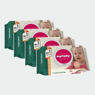 ( MUA 4 TẶNG 1) Combo 4 gói khăn ướt mamamy 100 tờ/gói tặng 1 chai bọt tắm gội thiên nhiên 200ml