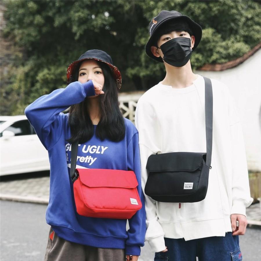 Túi đeo chéo vải canvas phong cách Nhật đi chơi, đi học