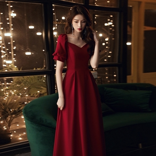 Banquet evening dress wine red bride new style engagement wedding toast dress host performance dress
