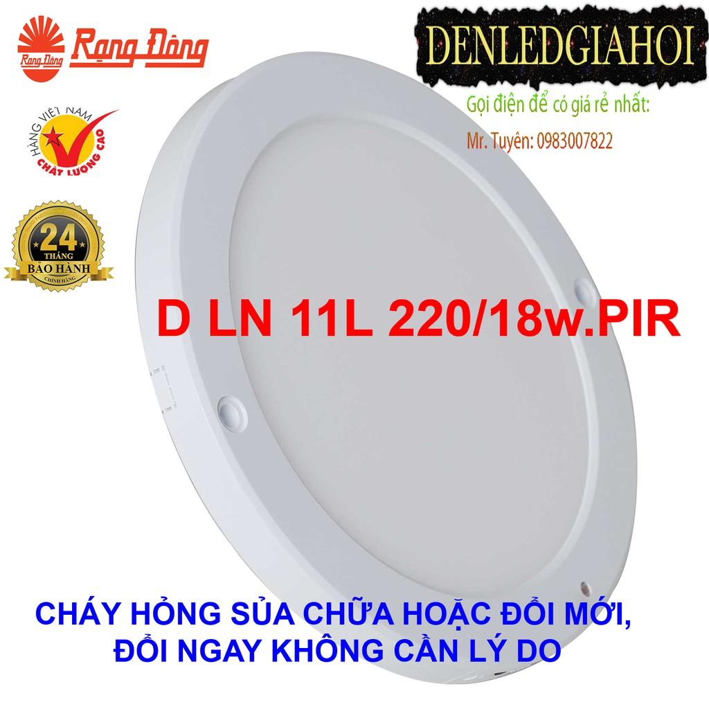 Đèn LED ốp trần cảm biến siêu mỏng 18W Rạng Đông, Model  D LN 11L 220/18w.PIR