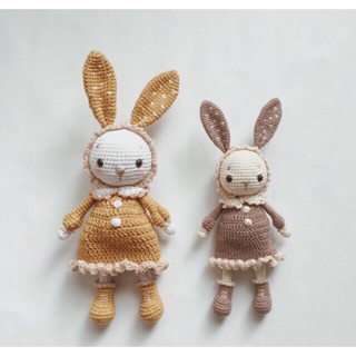 Thỏ khúc cây bằng len