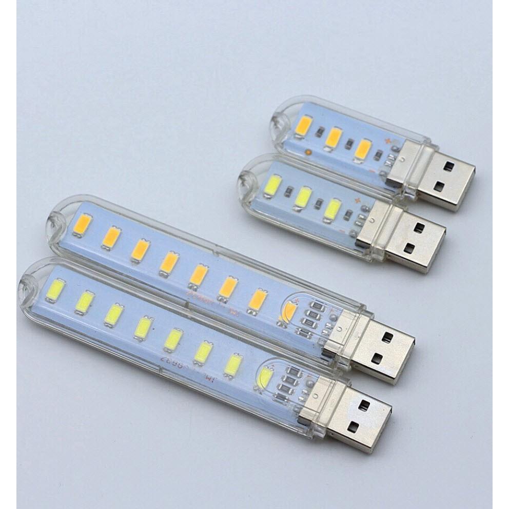 [HCM - GIÁ RẺ] ĐÈN LED USB TRONG SUỐT BÓNG SIÊU SÁNG 3 BÓNG - 8 BÓNG - 24 BÓNG TRẮNG - VÀNG