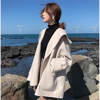 (Hàng có sẵn) Áo khoác dạ cashmere có nón thu đông