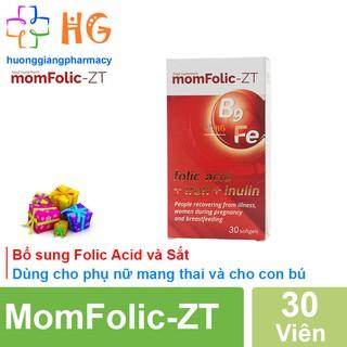 MomFolic-ZT - Hỗ trợ bổ sung Sắt và Folic Acid, giúp cải thiện thiếu máu do thiếu sắt ở phụ nữ mang thai (Hộp 30 Viên) thumbnail