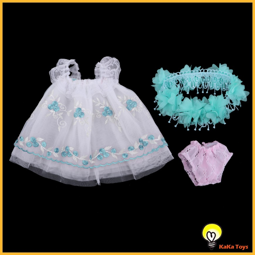Pretty Lace Dress With Headdress And Underpants For 18 Inch Dolls