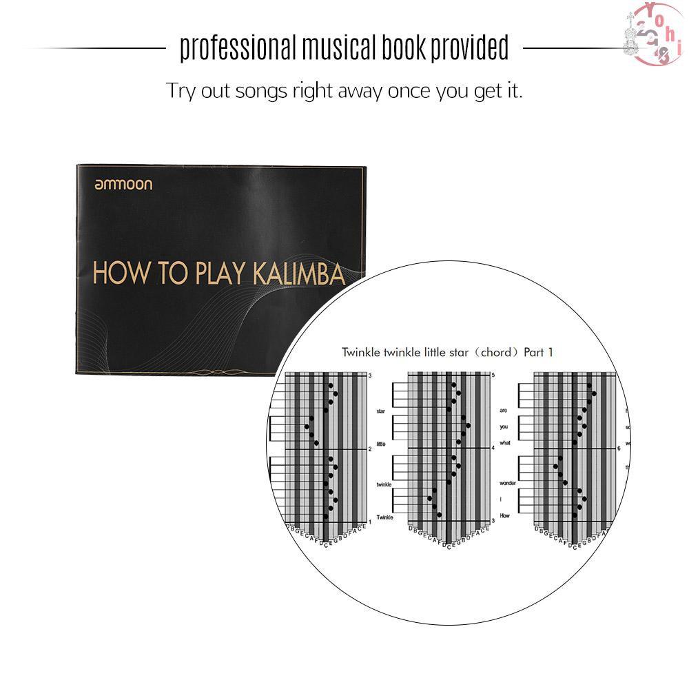 Nhạc cụ Kalimba 17 phím làm từ gỗ xoài ghép kèm theo phụ kiện