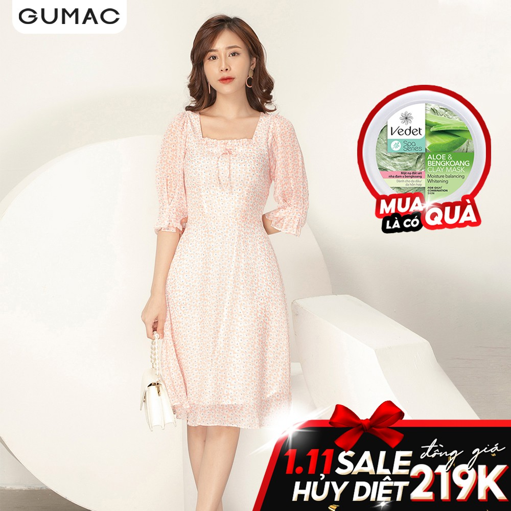Đầm cổ U phối bèo GUMAC DA902