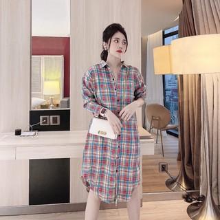 Váy bầu thời trang thiết kế sơ mi hàng cúc thật M154 chất đũi hàn freesize từ 45 đến 70kg thumbnail