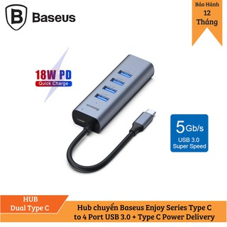 Hub chuyển Baseus Enjoy Series Type C to 4 Port USB 3.0 + Type C Power Delivery