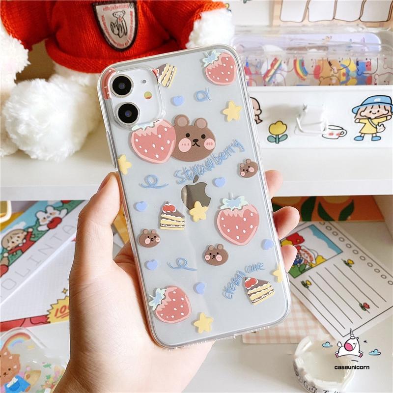 Ốp điện thoại mềm họa tiết gấu/quả dâu hoạt hình cho iPhone 11 Pro Max iPhone 12 Pro Max 6 6s 7 8 Plus SE 2020 iPhone XR X XS MAX iphone 12 mini