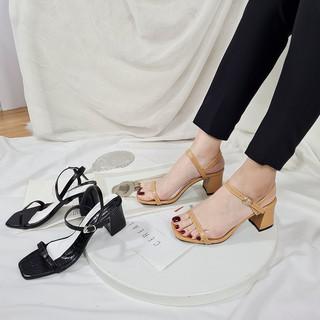 Giày sandal cao gót thời trang Byanca, giày nữ gót vuông phối dây quai mảnh màu đen cao 7cm_BS005