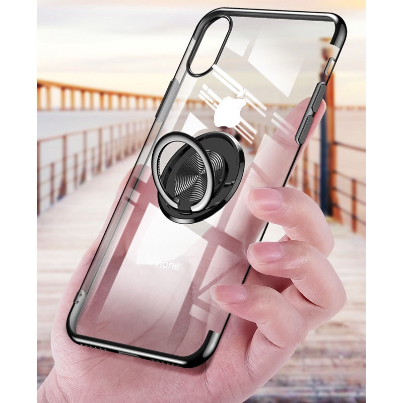 Luxury Plating Silicone With Ring Holder Multifunction Bracket For iPhone 6 6S 7 8 Plus X XSCover