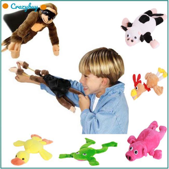 Cute Animal Shape Plush Toy Slingslot Flying Animal Fligshot Toy for Kids